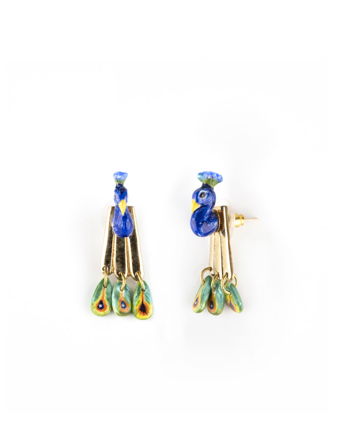 NACH PEACOCK FRONT & BACK EARRINGS