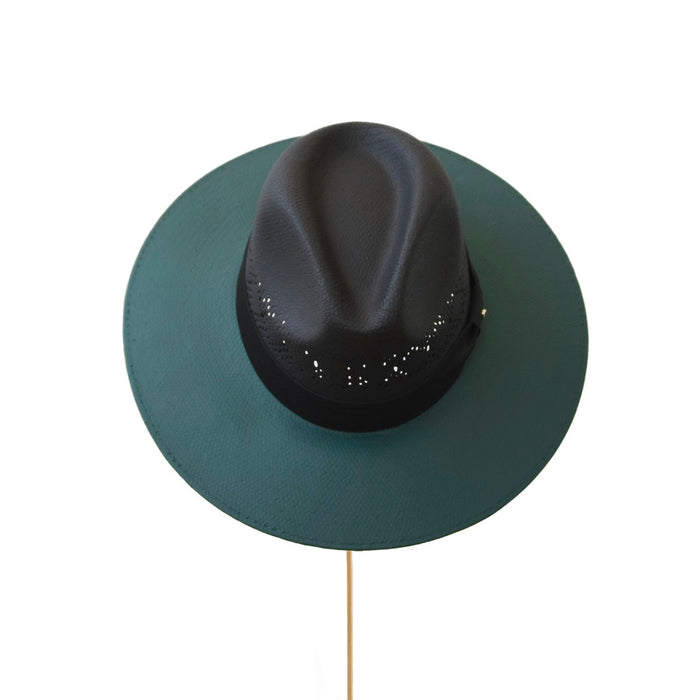 BIURIFUL SOMBRERO TOT COLOR BLACK VERDE CALADO