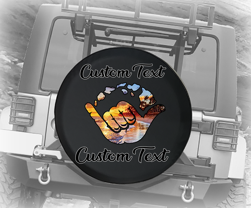 Hawaiian Sunset Tropical Beach Ocean - Personalized Spare Tire Cover