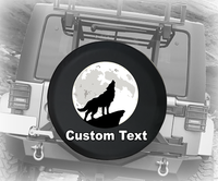 Wild Wolf Howling at Moon- Personalized Spare Tire Cover