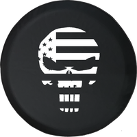 Jeep Wrangler Tire Cover With American Patriot Flag Punisher Skull (Wrangler JK, TJ, YJ)