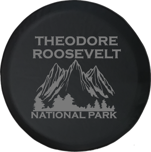 Jeep Wrangler Tire Cover With Theodore Roosevelt National Park (Wrangler JK, TJ, YJ) Grey Ink