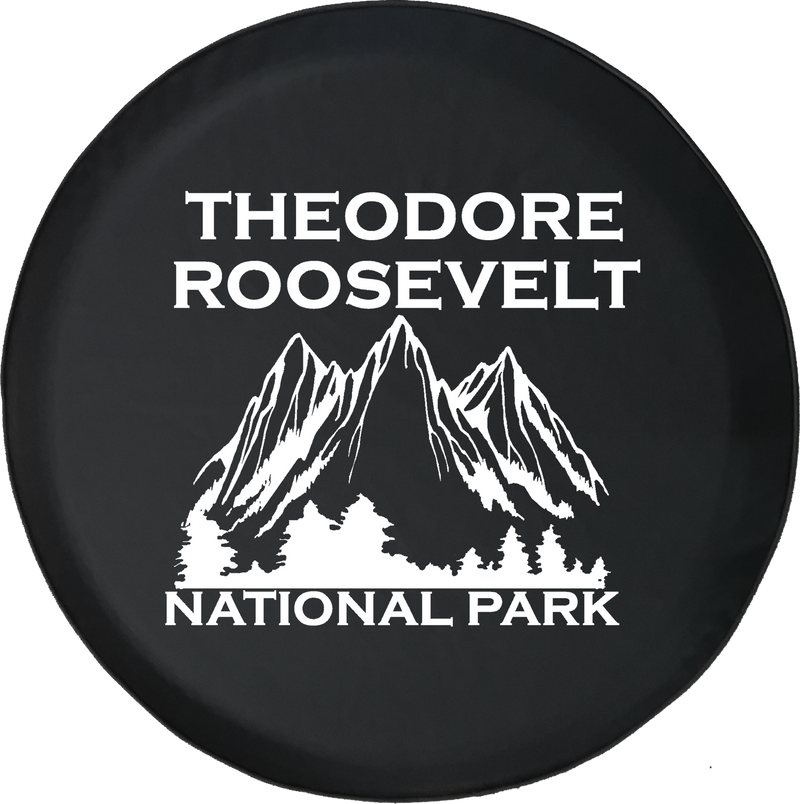 Jeep Wrangler Tire Cover With Theodore Roosevelt National Park (Wrangler JK, TJ, YJ) White Ink