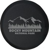 Jeep Wrangler Tire Cover With Rocky Mountain National Park (Wrangler JK, TJ, YJ) Grey Ink