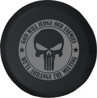 Jeep Wrangler Tire Cover With God Will Judge Enemies (Wrangler JK, TJ, YJ)