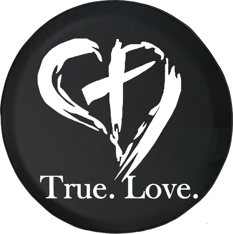True. Love. Christian Jesus Heart Cross Religious Offroad Jeep RV Camper Spare Tire Cover J215 - TireCoverPro