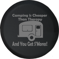 Camping is Cheaper than Therapy & You Get S'mores Offroad Jeep RV Camper Spare Tire Cover J260 - TireCoverPro