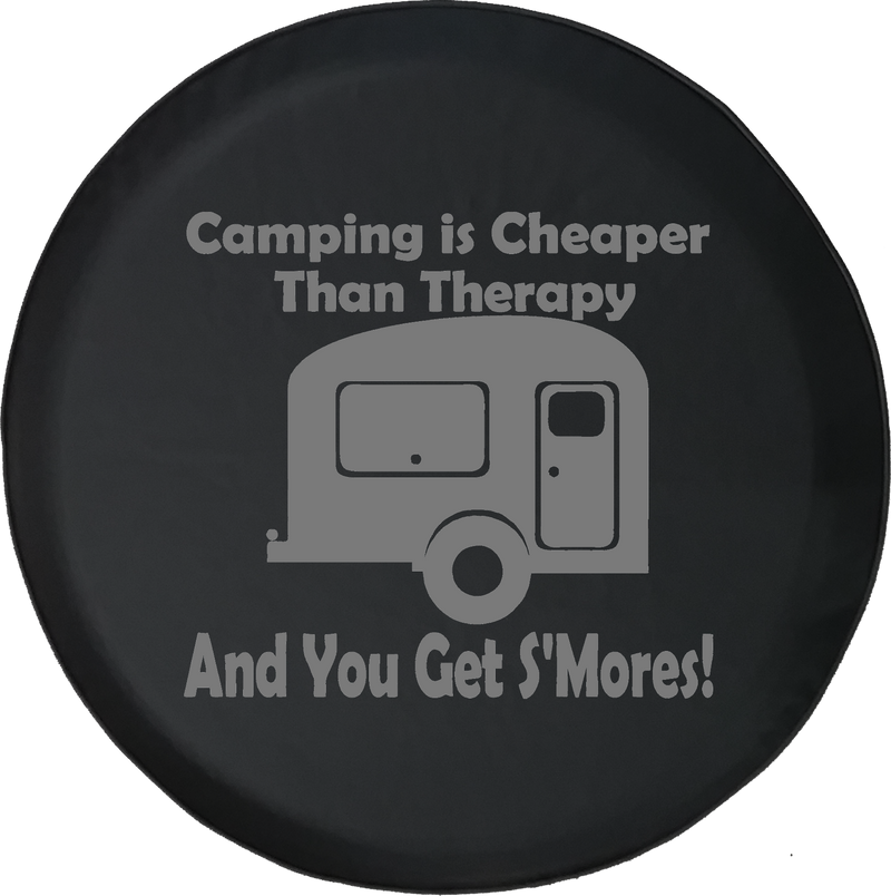 Camping is Cheaper than Therapy & You Get S'mores Offroad Jeep RV Camper Spare Tire Cover J260