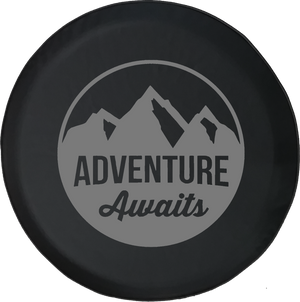 Adventure Awaits Mountain Scene Stamp Style Offroad Jeep RV Camper Spare Tire Cover J303