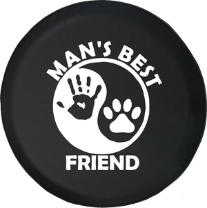 Man's Best Friend Ying Yang Hand Print Jeep Wave Paw Print Offroad Jeep RV Camper Spare Tire Cover J309