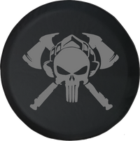 Fire Department Punisher Skull Shield Helmet with Crossed Axes Offroad Jeep RV Camper Spare Tire Cover J370