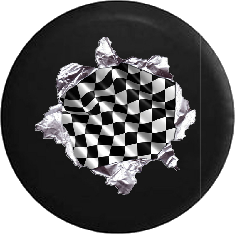 Racing Checkered Flag Tearing Through Jeep Camper Spare Tire Cover 35- P107