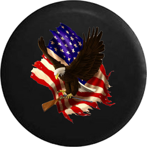 Jeep Liberty Tire Cover With American Bald Eagle Carrying Shotgun