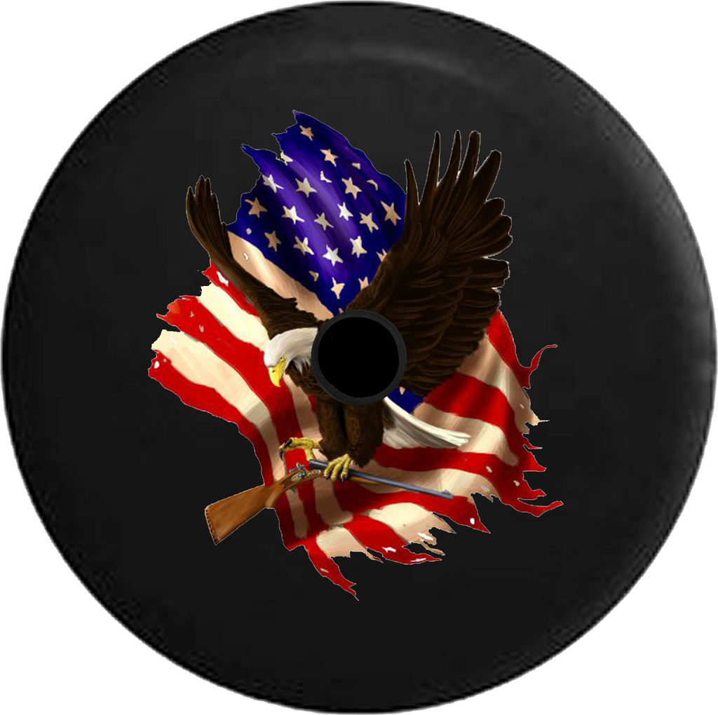 Jeep Wrangler JL Backup Camera American Bald Eagle Carrying Shotgun with American Flag Jeep Camper Spare Tire Cover 35- P108