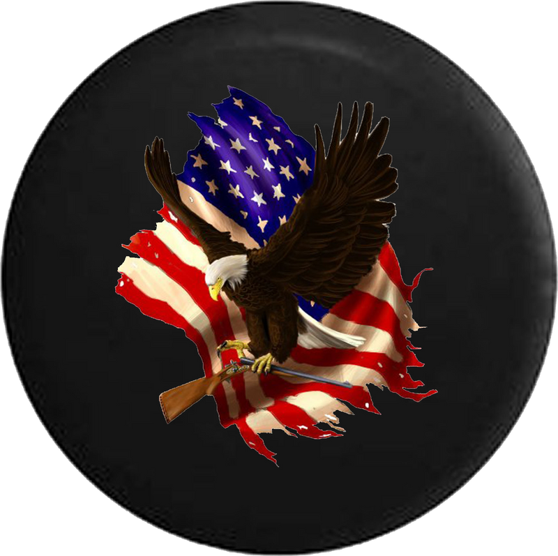 Jeep Wrangler Tire Cover With American Bald Eagle Carrying Shotgun (Wrangler JK, TJ, YJ) SKU - P108 - TireCoverPro