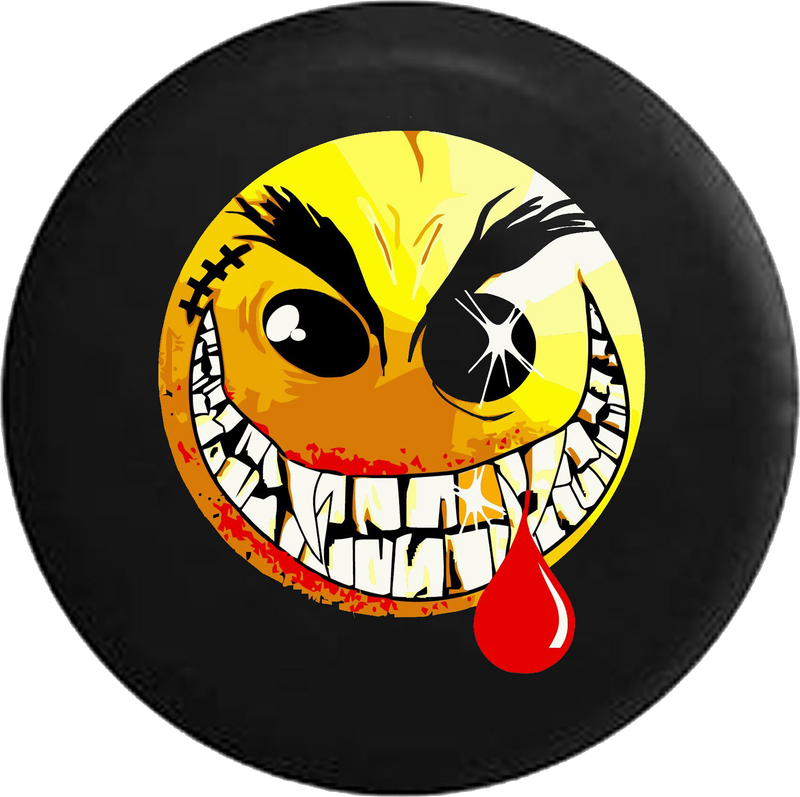 Evil Crazy Smiley Face Dripping Blood Jeep Camper Spare Tire Cover 35- P112