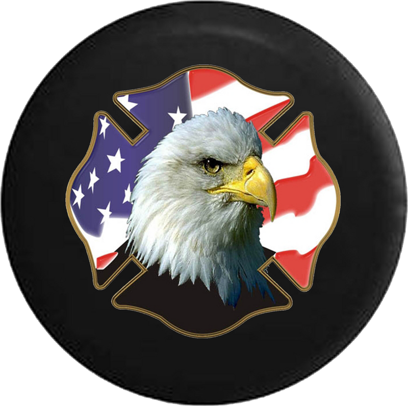 Jeep Wrangler Spare Tire Cover With Bald Eagle Fire Fighter (Wrangler JK, TJ, YJ)