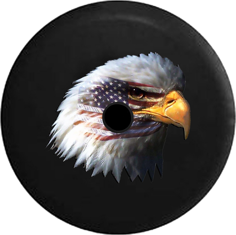Jeep Wrangler JL Backup Camera Waving American Flag and Bald Eagle Jeep Camper Spare Tire Cover 35- P118