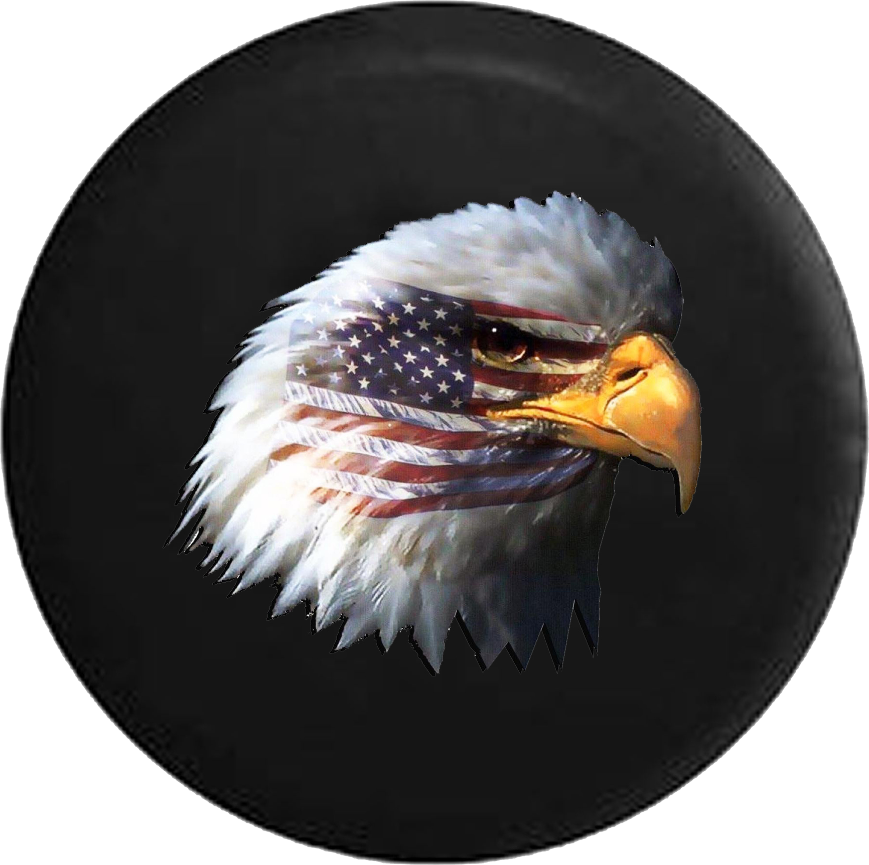 Waving American Flag and Bald Eagle Jeep Camper Spare Tire Cover CUSTOM  SIZE/COLOR/INK- P118