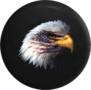 Waving American Flag and Bald Eagle Jeep Camper Spare Tire Cover 35- P118