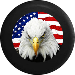 Patriotic American Eagle with USA Flag Jeep Camper Spare Tire Cover CUSTOM SIZE/COLOR/INK- P124 - TireCoverPro