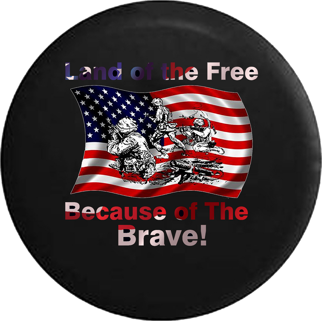 Jeep Wrangler Tire Cover With Free Land Because of Brave (Wrangler JK, TJ, YJ) SKU-P130 - TireCoverPro