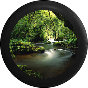 Scenic Mystic Winding Tropical Rain Forest River Jeep Camper Spare Tire Cover 35 inch R104