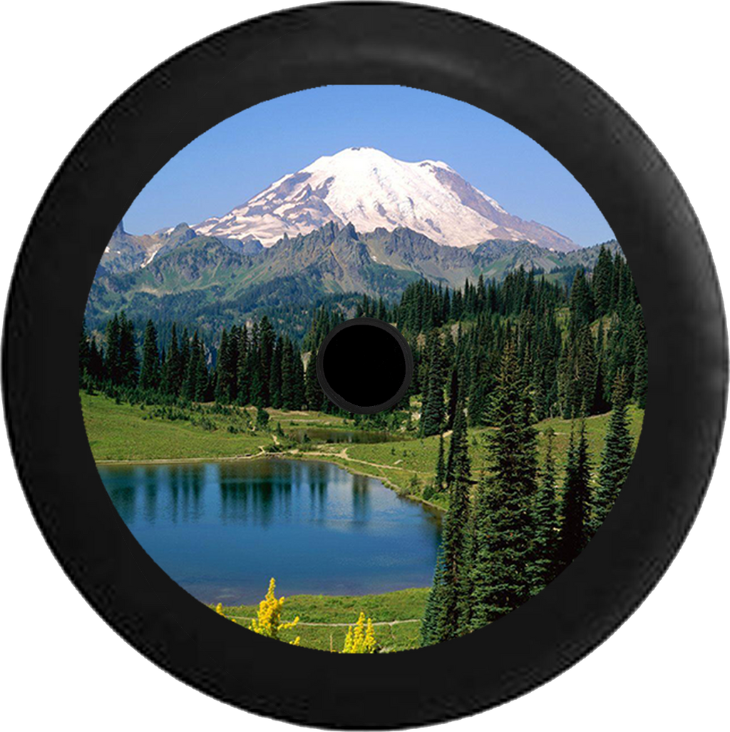 Jeep Wrangler JL Backup Camera Mountain Scenic Pine Forest, Lake, Park and Trails Jeep Camper Spare Tire Cover 35 inch R105