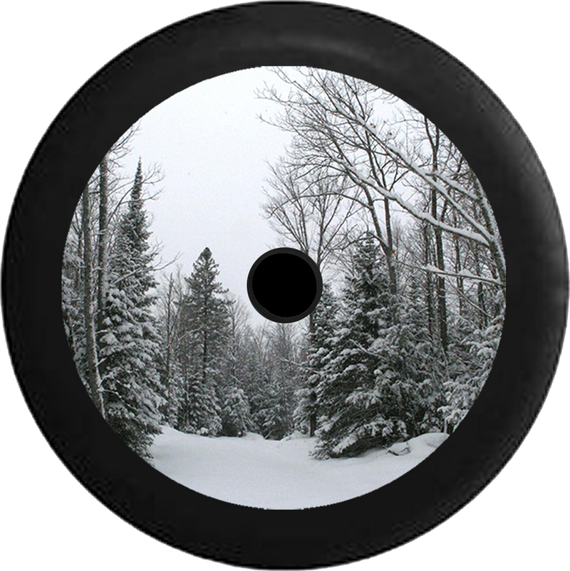 Jeep Wrangler JL Backup Camera Snow Covered Pine Trees Winter Scene Jeep Camper Spare Tire Cover 35 inch R106