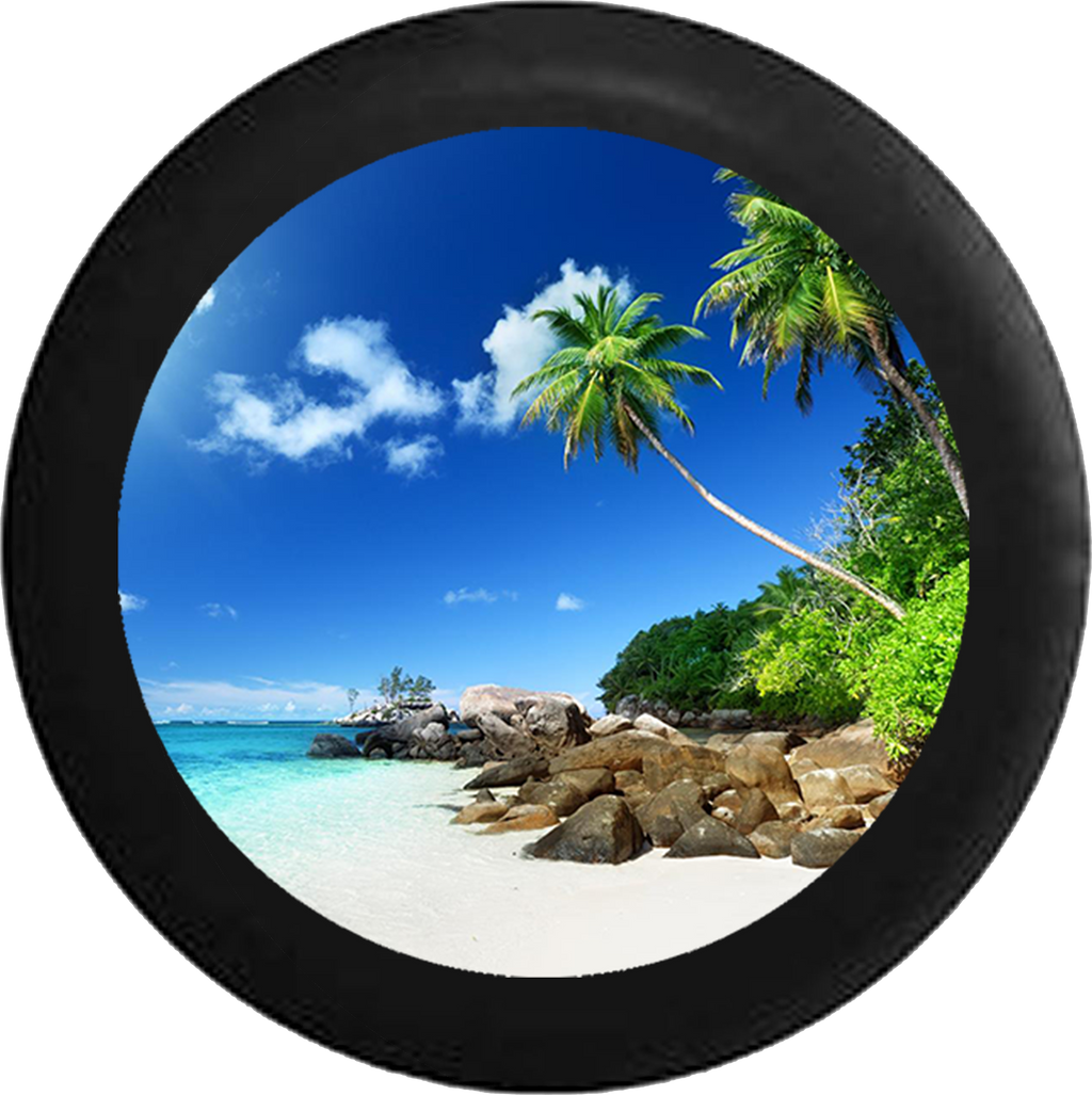 Jeep Liberty Tire Cover With Tropical Beach View Print (Liberty 02-12) - TireCoverPro