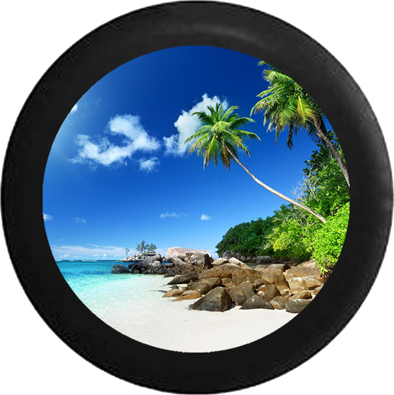 Jeep Wrangler Tire Cover With Tropical Beach View Print (Wrangler JK, TJ, YJ)