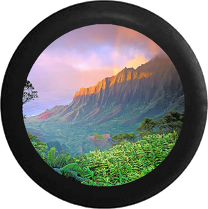 Mountain Sunset Skyline River fading into Desert Jeep Camper Spare Tire Cover BLACK-CUSTOM SIZE/COLOR/INK- R110 - TireCoverPro
