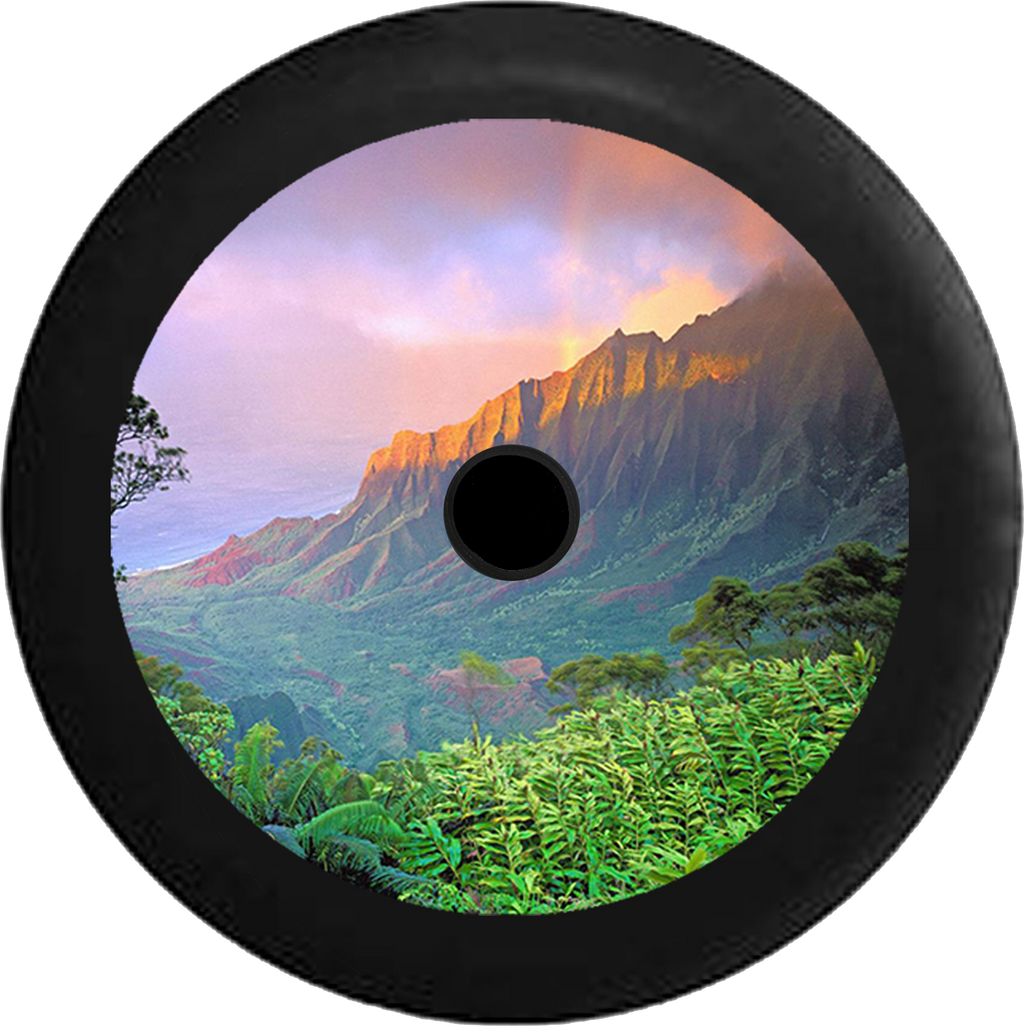 Jeep Wrangler JL Backup Camera Mountain Sunset Skyline River fading into Desert Jeep Camper Spare Tire Cover 35 inch R110