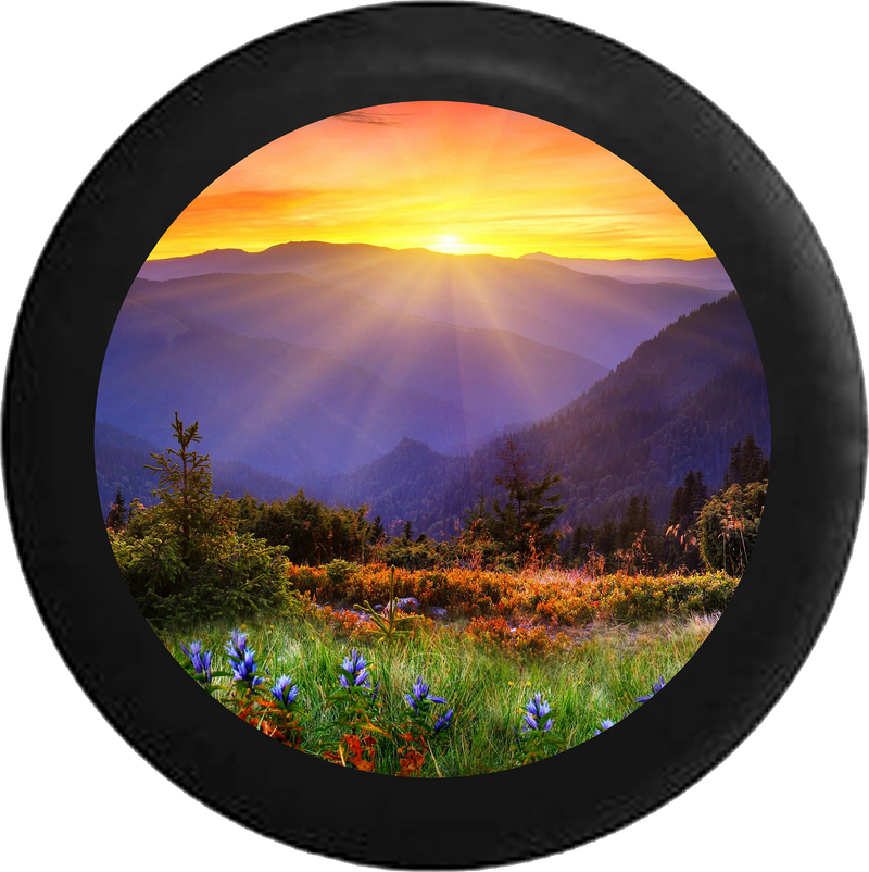 Sunrise Sunset behind Mountain Range field of Flowers Jeep Camper Spare Tire Cover BLACK-CUSTOM SIZE/COLOR/INK- R113 - TireCoverPro
