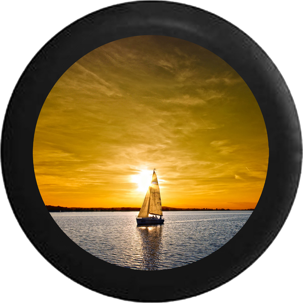 Sailboat Sailing lake with orange sky during sunset Jeep Camper Spare Tire Cover BLACK-CUSTOM SIZE/COLOR/INK- R119 - TireCoverPro