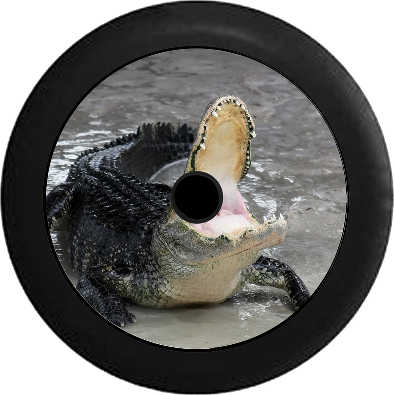 Jeep Wrangler JL Backup Camera Alligator Crocodile Mouth Open Feeding Time Jeep Camper Spare Tire Cover 35 inch R120