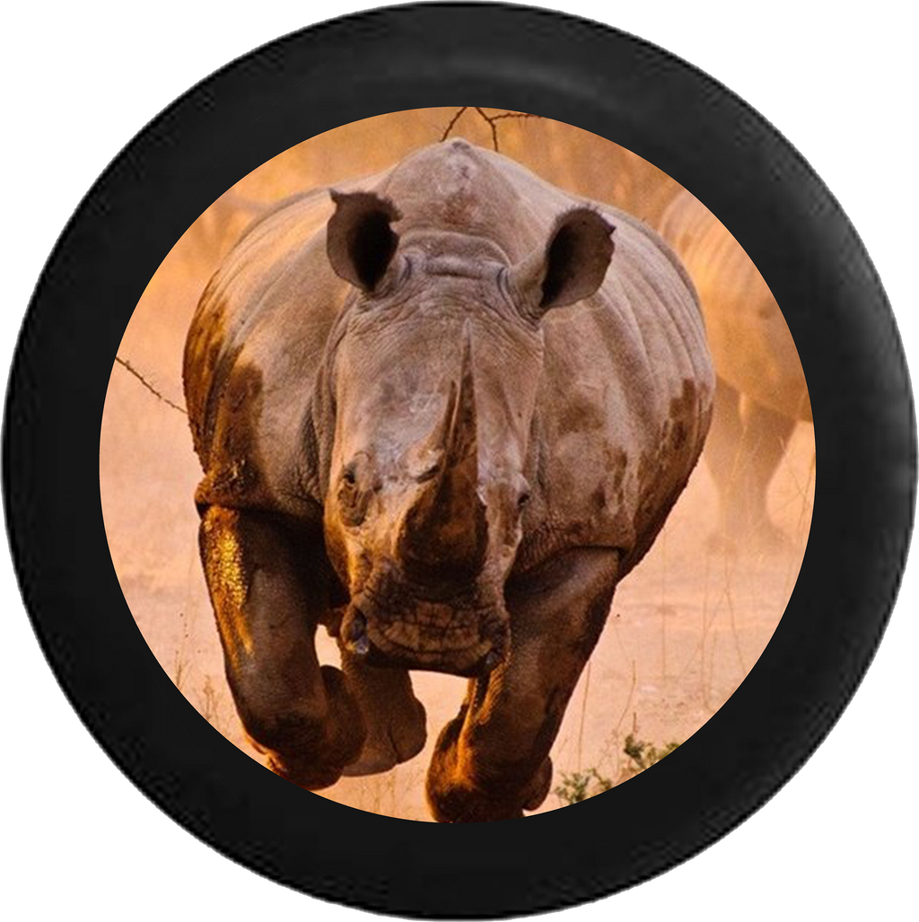 Charging African Grey and Black Rhino Jeep Camper Spare Tire Cover BLACK-CUSTOM SIZE/COLOR/INK- R130 - TireCoverPro