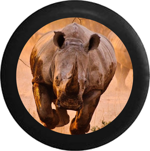 Charging African Grey and Black Rhino Jeep Camper Spare Tire Cover 35 inch R130