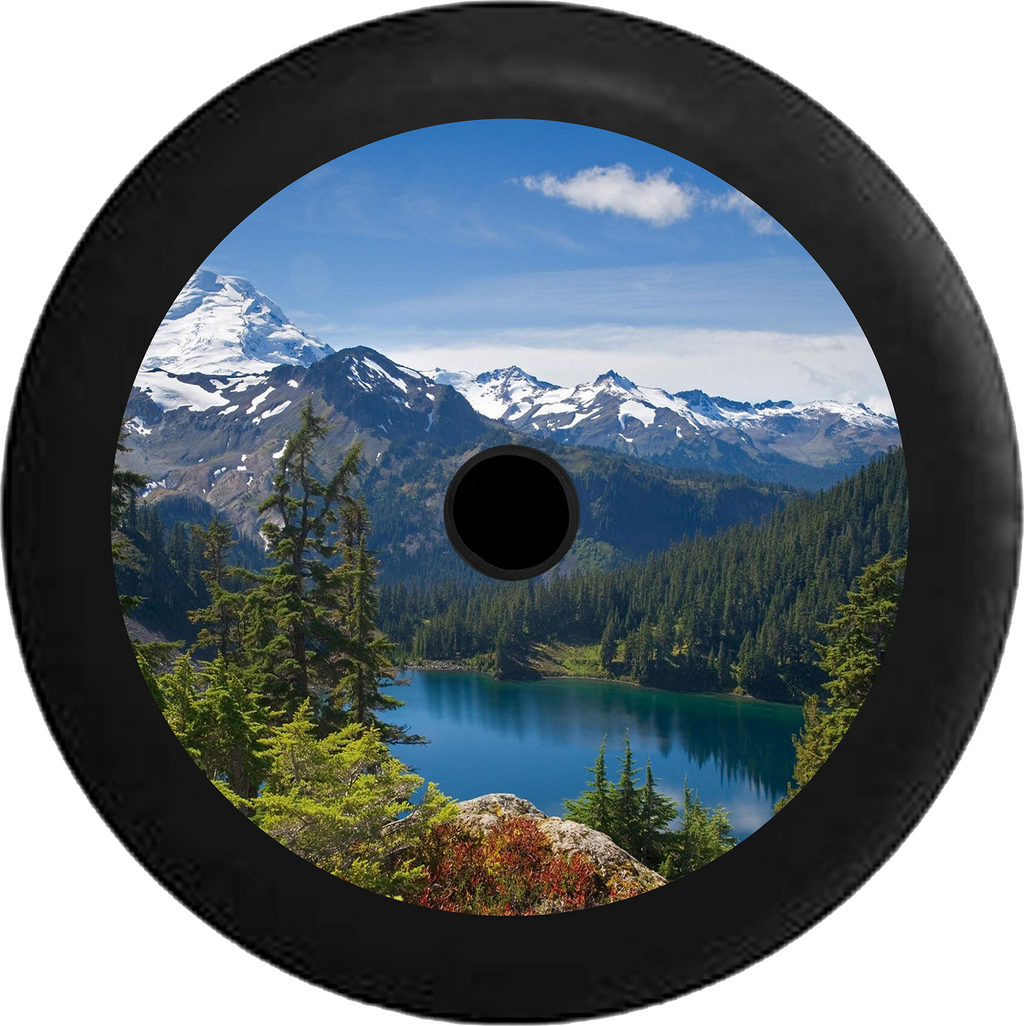 Jeep Wrangler JL Backup Camera Mountain Range Pine Forest Calm Lake Snow Capped Jeep Camper Spare Tire Cover 35 inch R134