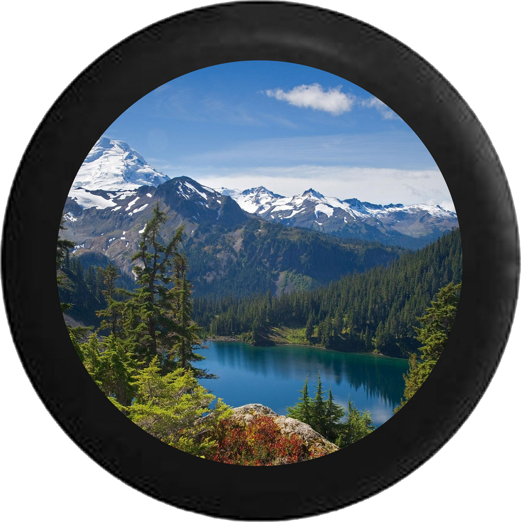 Mountain Range Pine Forest Calm Lake Snow Capped Jeep Camper Spare Tire Cover BLACK-CUSTOM SIZE/COLOR/INK- R134 - TireCoverPro