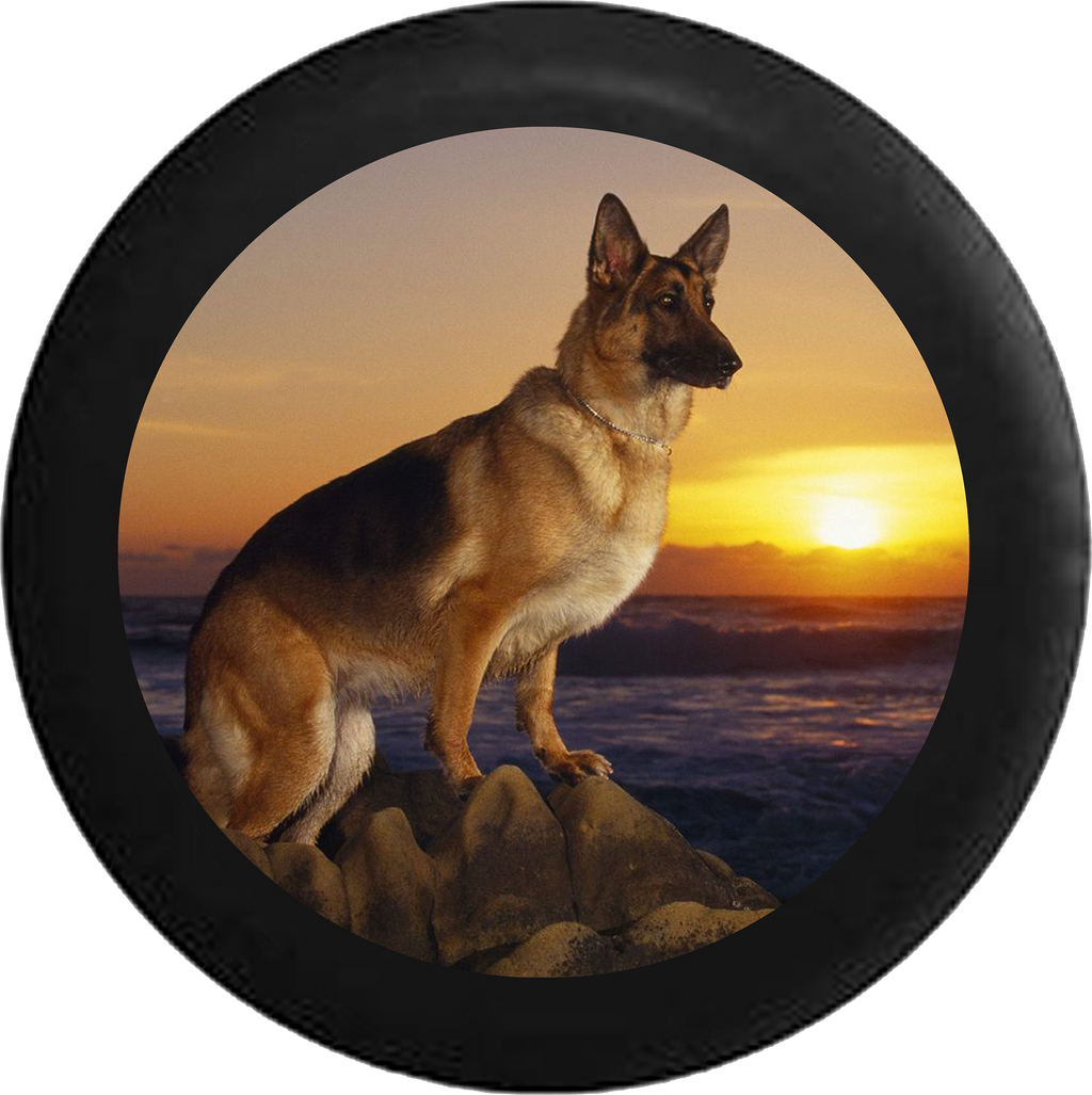 German Sheppard Dog pearched on Rocks Sunset Jeep Camper Spare Tire Cover BLACK-CUSTOM SIZE/COLOR/INK- R141 - TireCoverPro
