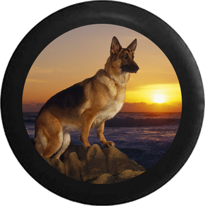 German Sheppard Dog pearched on Rocks Sunset Jeep Camper Spare Tire Cover 35 inch R141