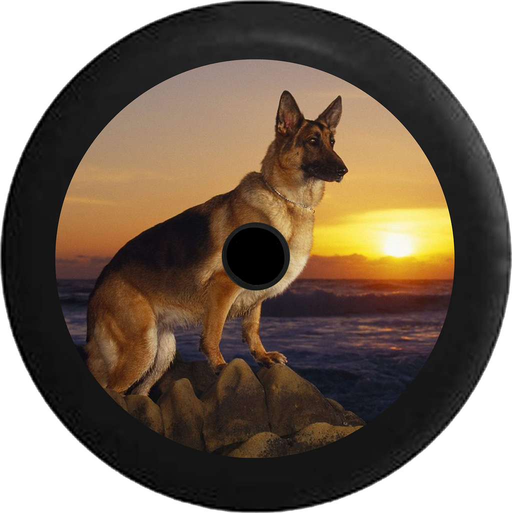 Jeep Wrangler JL Backup Camera German Sheppard Dog pearched on Rocks Sunset Jeep Camper Spare Tire Cover 35 inch R141