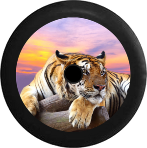 Jeep Wrangler JL Backup Camera Lion Jungle Cat Sunset Sky on Log Jeep Camper Spare Tire Cover 35 inch R150