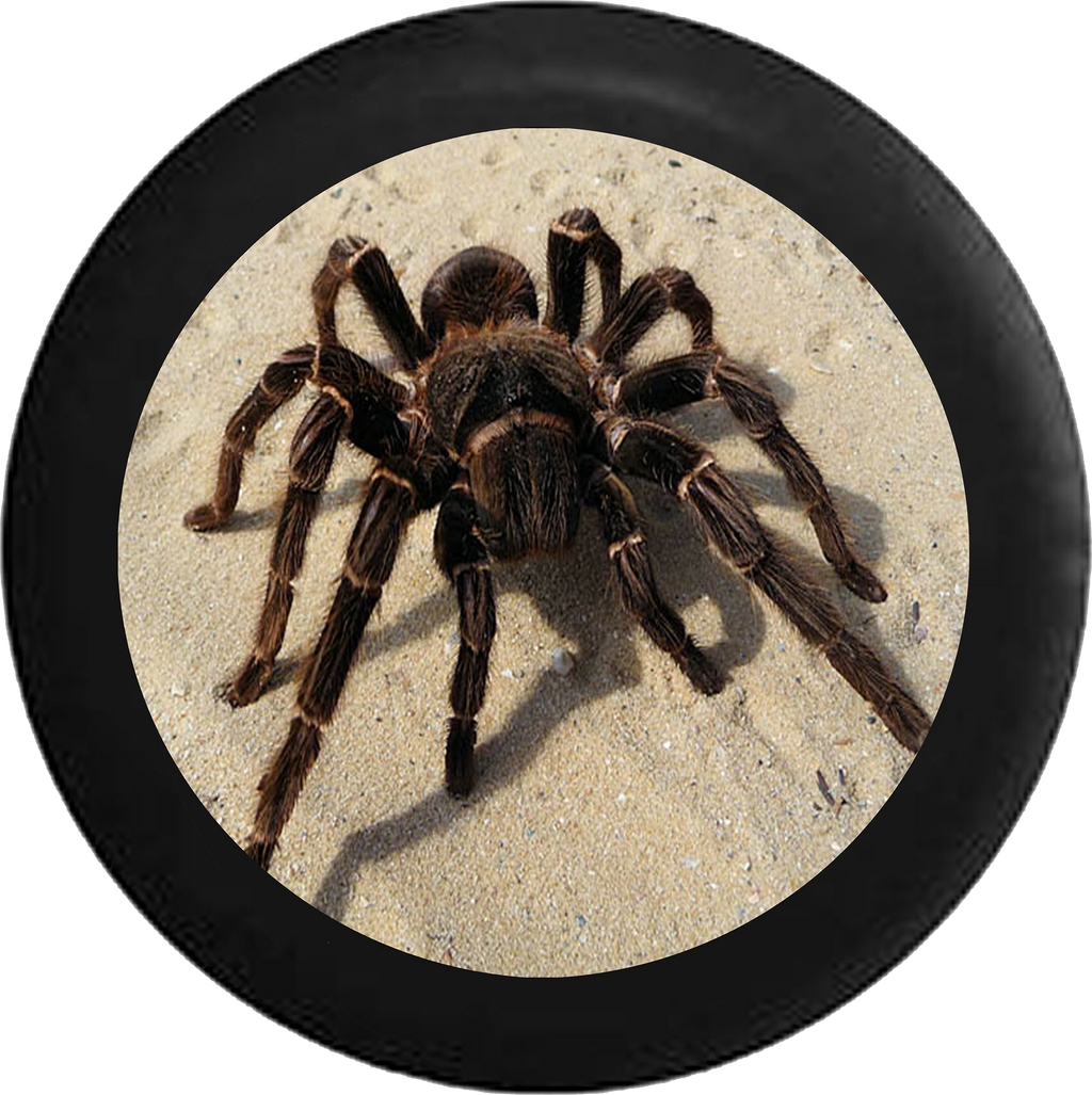 Tarantula Spider on Desert Sand Jeep Camper Spare Tire Cover BLACK-CUSTOM SIZE/COLOR/INK- R151 - TireCoverPro