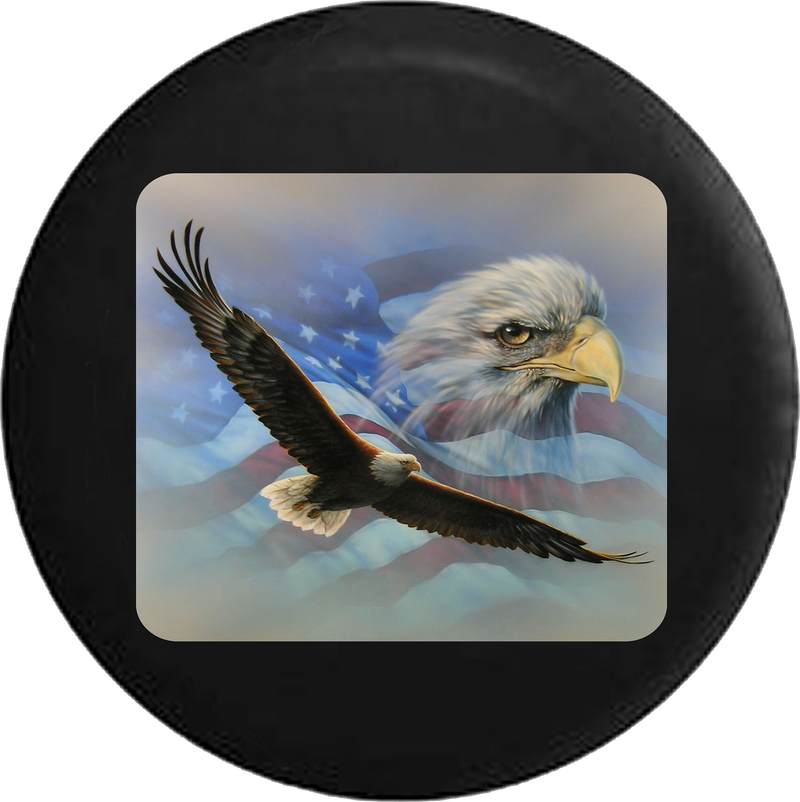 Jeep Liberty Tire Cover With Soaring American Eagle
