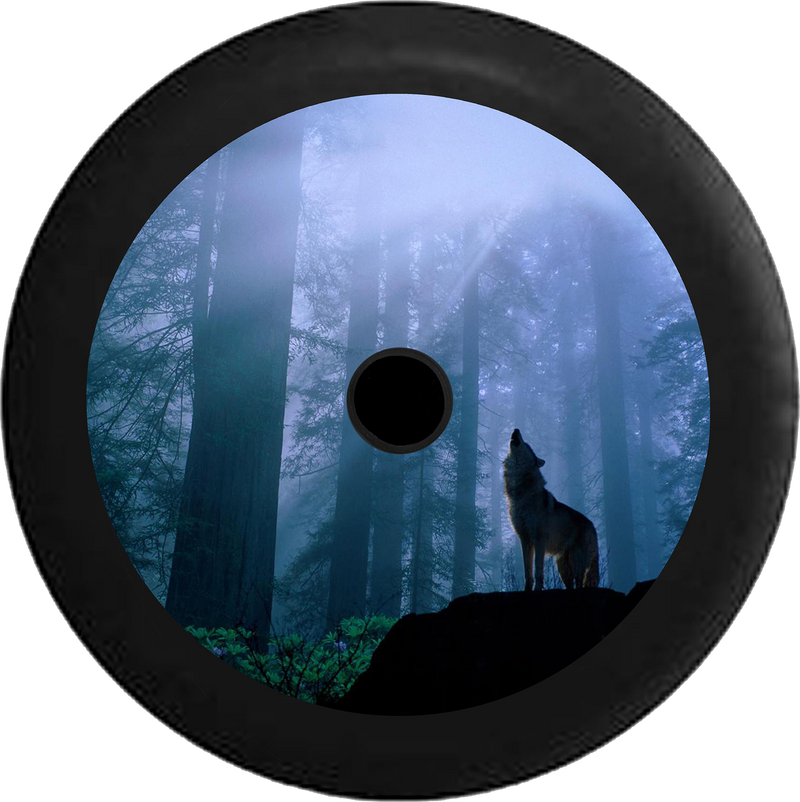 Jeep Wrangler JL Backup Camera Wolf Howling at the Moon Forest Lone Predator Jeep Camper Spare Tire Cover 35 inch R158