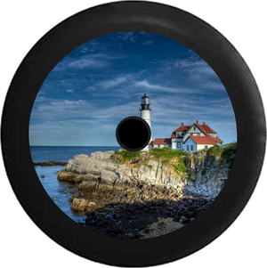Jeep Wrangler JL Backup Camera Maine Lighthouse on Cliffside overlooking Ocean Jeep Camper Spare Tire Cover 35 inch R162