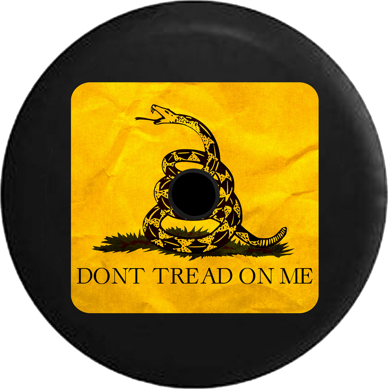 Jeep Wrangler JL Backup Camera Don't Tread on Me Yellow and Black Gagsden Snake Jeep Camper Spare Tire Cover 35 inch R163
