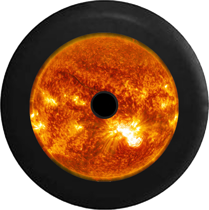 Jeep Wrangler JL Backup Camera Close up of the Sun with Solar Flares Jeep Camper Spare Tire Cover 35 inch R172